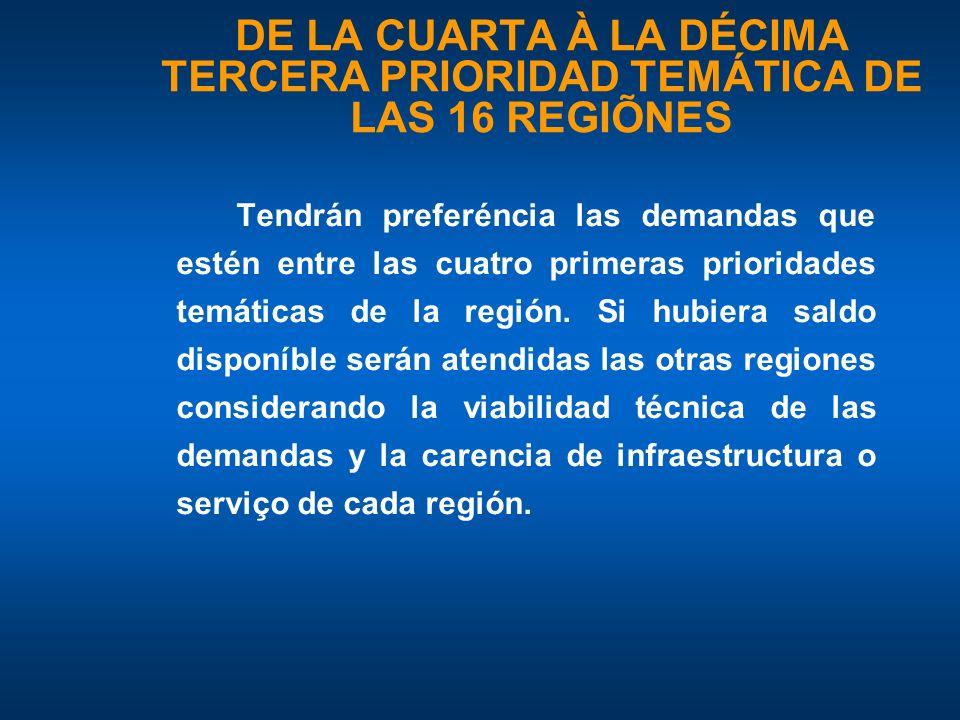 DE LA CUARTA À LA DÉCIMA TERCERA PRIORIDAD TEMÁTICA DE LAS 16 REGIÕNES Tendrán preferéncia las demandas que estén entre las cuatro primeras prioridades temáticas de la región.