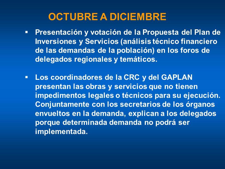 OCTUBRE A DICIEMBRE Presentación y votación de la Propuesta del Plan de Inversiones y Servicios (análisis técnico financiero de las demandas de la población) en los foros de delegados regionales y temáticos.