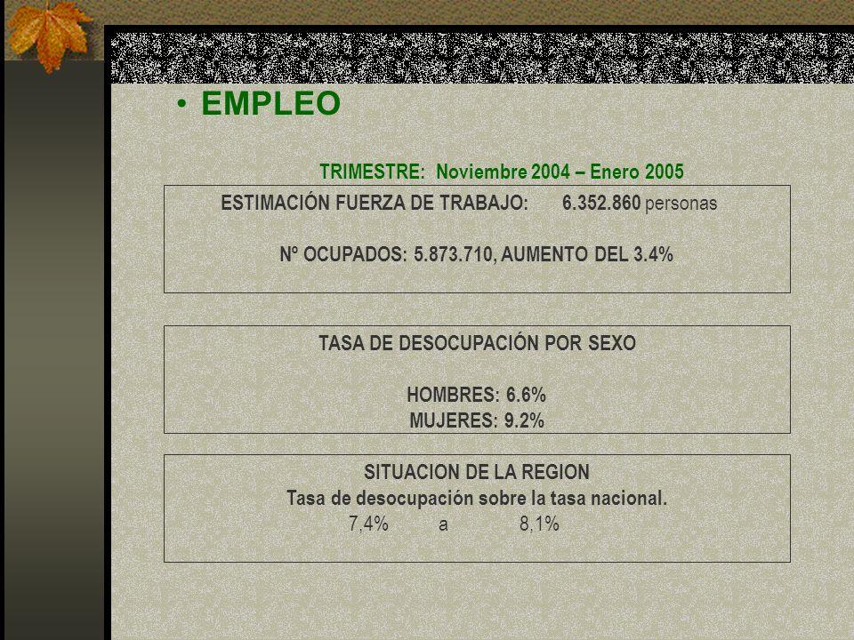 EMPLEO TRIMESTRE: Noviembre 2004 – Enero 2005 ESTIMACIÓN FUERZA DE TRABAJO:6.352.860 personas Nº OCUPADOS: 5.873.710, AUMENTO DEL 3.4% TASA DE DESOCUP