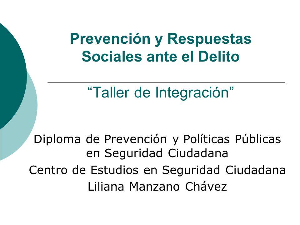 Prevención y Respuestas Sociales ante el DelitoTaller de Integración Diploma de Prevención y Políticas Públicas en Seguridad Ciudadana Centro de Estud