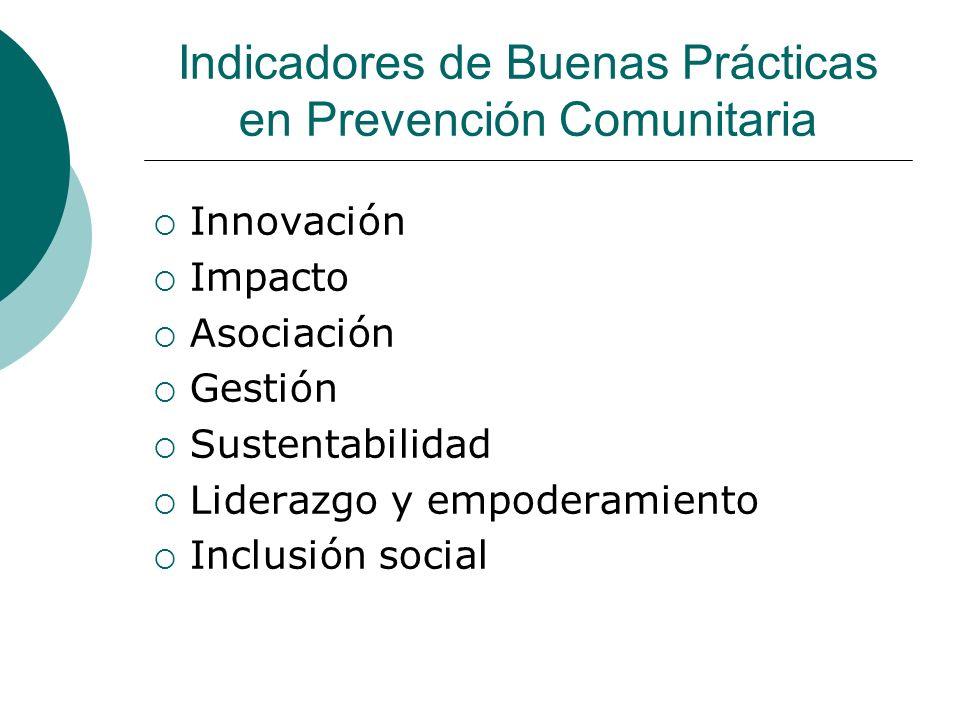 Indicadores de Buenas Prácticas en Prevención Comunitaria Innovación Impacto Asociación Gestión Sustentabilidad Liderazgo y empoderamiento Inclusión s