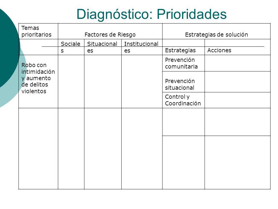Diagnóstico: Prioridades Temas prioritarios Factores de RiesgoEstrategias de solución Sociale s Situacional es Institucional esEstrategiasAcciones Rob