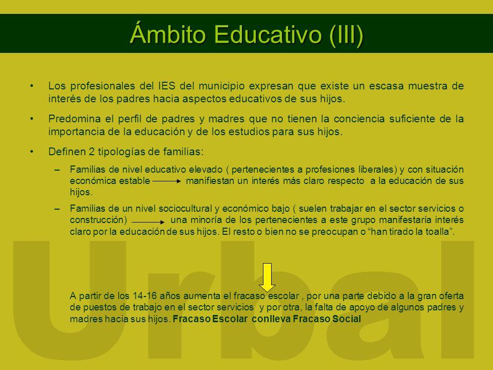 Ámbito Educativo (III) Los profesionales del IES del municipio expresan que existe un escasa muestra de interés de los padres hacia aspectos educativos de sus hijos.