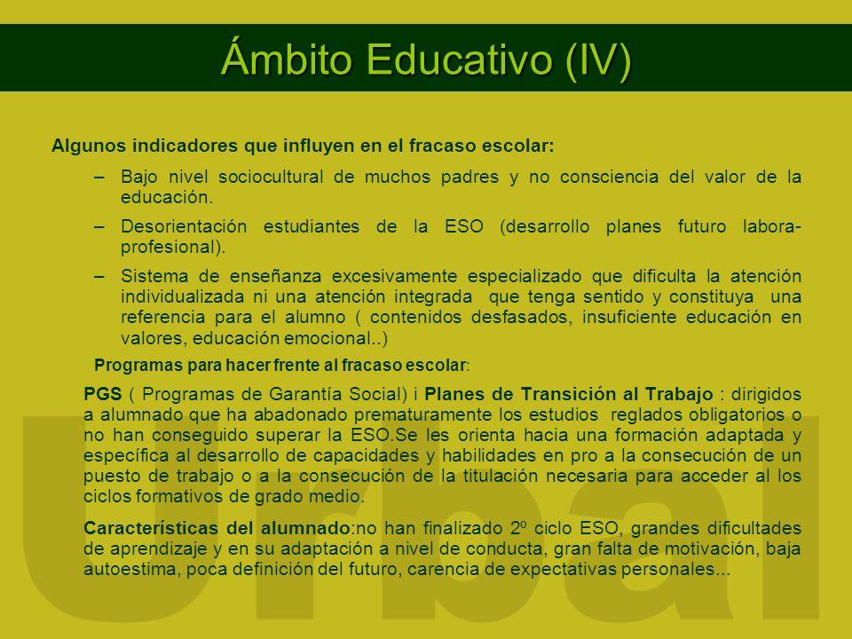Ámbito Educativo (IV) Algunos indicadores que influyen en el fracaso escolar: –Bajo nivel sociocultural de muchos padres y no consciencia del valor de