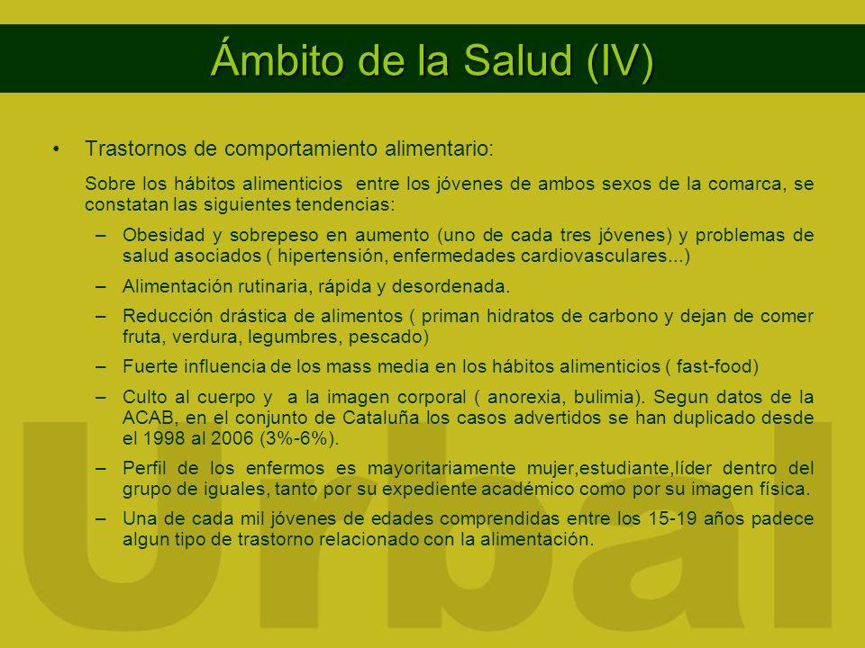 Ámbito de la Salud (IV) Trastornos de comportamiento alimentario: Sobre los hábitos alimenticios entre los jóvenes de ambos sexos de la comarca, se co