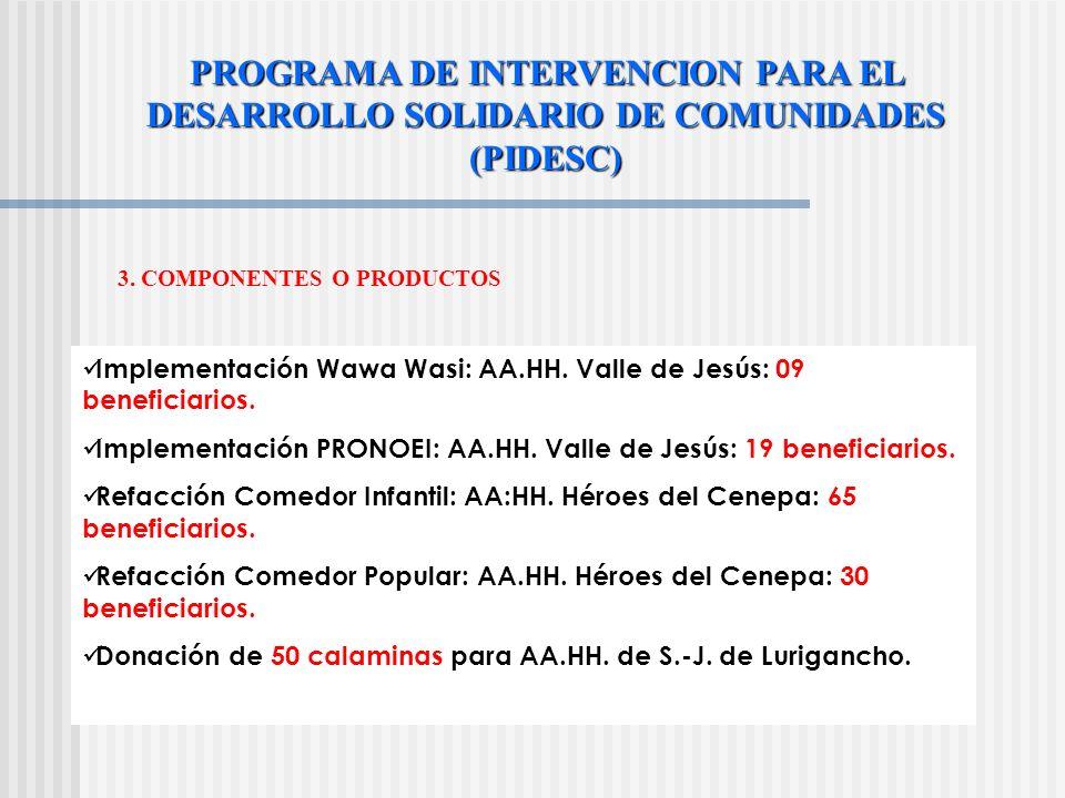 3. COMPONENTES O PRODUCTOS Coordinación con mesa de donantes internos y externos. -Solicitud a Arbolima y SERPAR para arborización y construcción de p