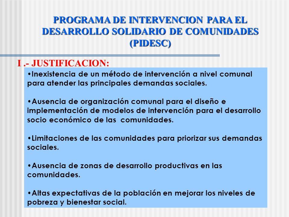 PROGRAMA DE INTERVENCION PARA EL DESARROLLO SOLIDARIO DE COMUNIDADES (PIDESC) I.- JUSTIFICACION: Inexistencia de un método de intervención a nivel comunal para atender las principales demandas sociales.