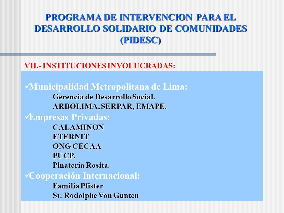 PROGRAMA DE INTERVENCION PARA EL DESARROLLO SOLIDARIO DE COMUNIDADES (PIDESC) VII.- INSTITUCIONES INVOLUCRADAS: Municipalidad Metropolitana de Lima: Gerencia de Desarrollo Social.