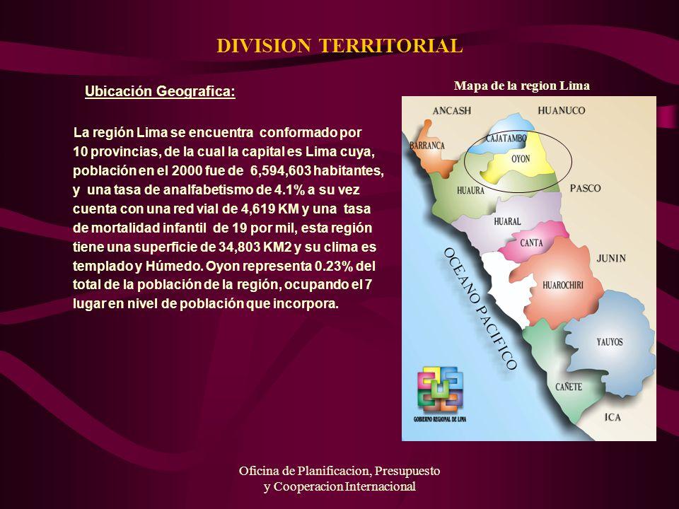 Oficina de Planificacion, Presupuesto y Cooperacion Internacional DIVISION TERRITORIAL Ubicación Geografica: La región Lima se encuentra conformado po