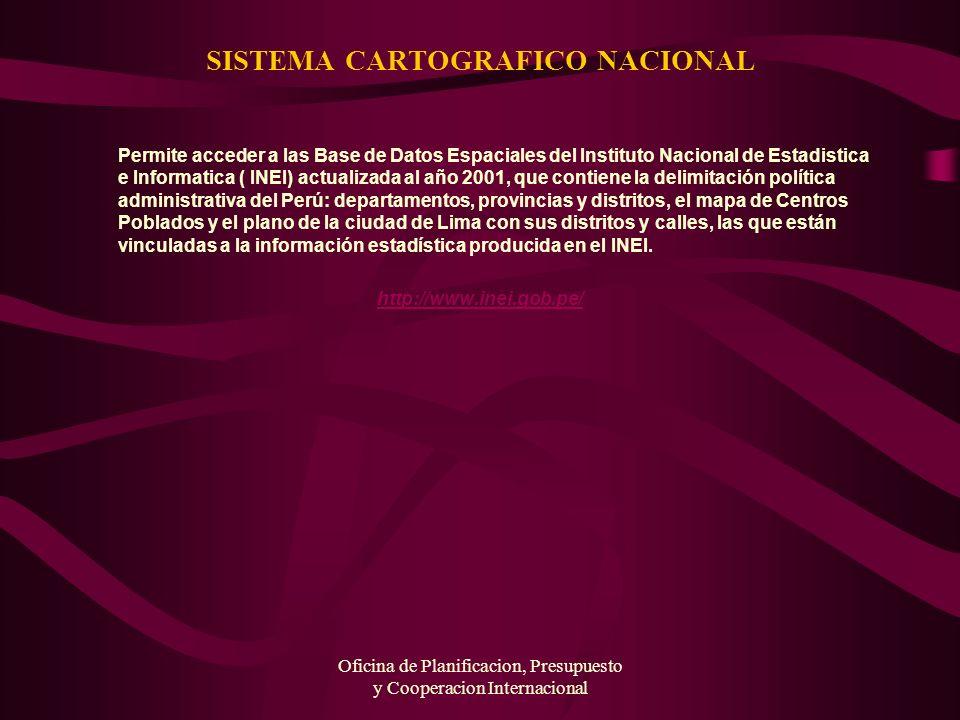 Oficina de Planificacion, Presupuesto y Cooperacion Internacional SISTEMA CARTOGRAFICO NACIONAL Permite acceder a las Base de Datos Espaciales del Ins