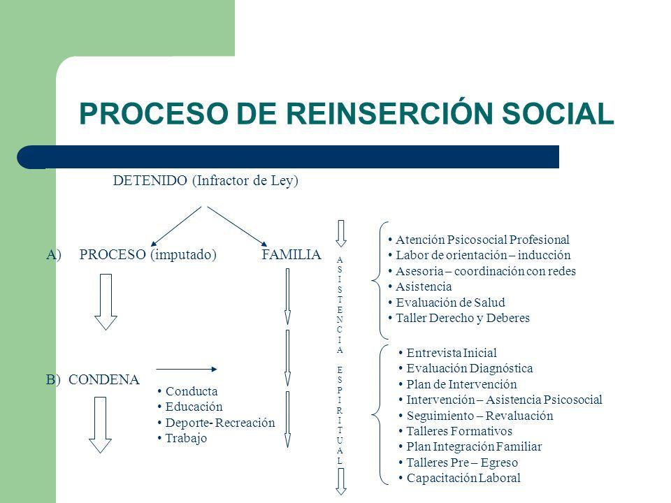 PROCESO DE REINSERCIÓN SOCIAL DETENIDO (Infractor de Ley) Conducta Educación Deporte- Recreación Trabajo Atención Psicosocial Profesional Labor de ori