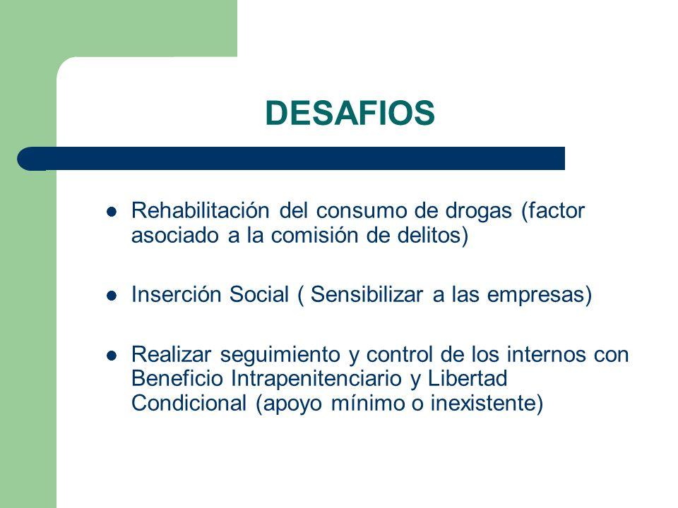 DESAFIOS Rehabilitación del consumo de drogas (factor asociado a la comisión de delitos) Inserción Social ( Sensibilizar a las empresas) Realizar segu