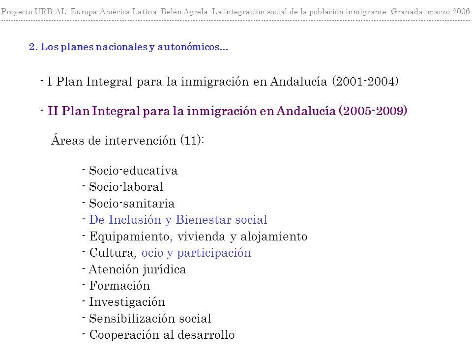 - I Plan Integral para la inmigración en Andalucía (2001-2004) - II Plan Integral para la inmigración en Andalucía (2005-2009) 2. Los planes nacionale