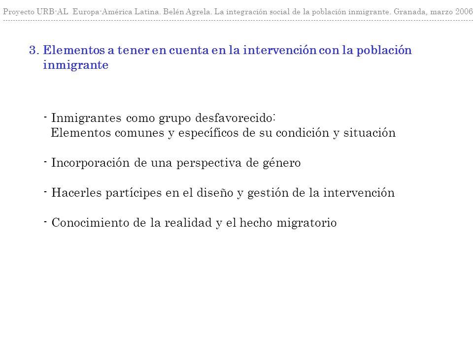 3. Elementos a tener en cuenta en la intervención con la población inmigrante Proyecto URB-AL Europa-América Latina. Belén Agrela. La integración soci