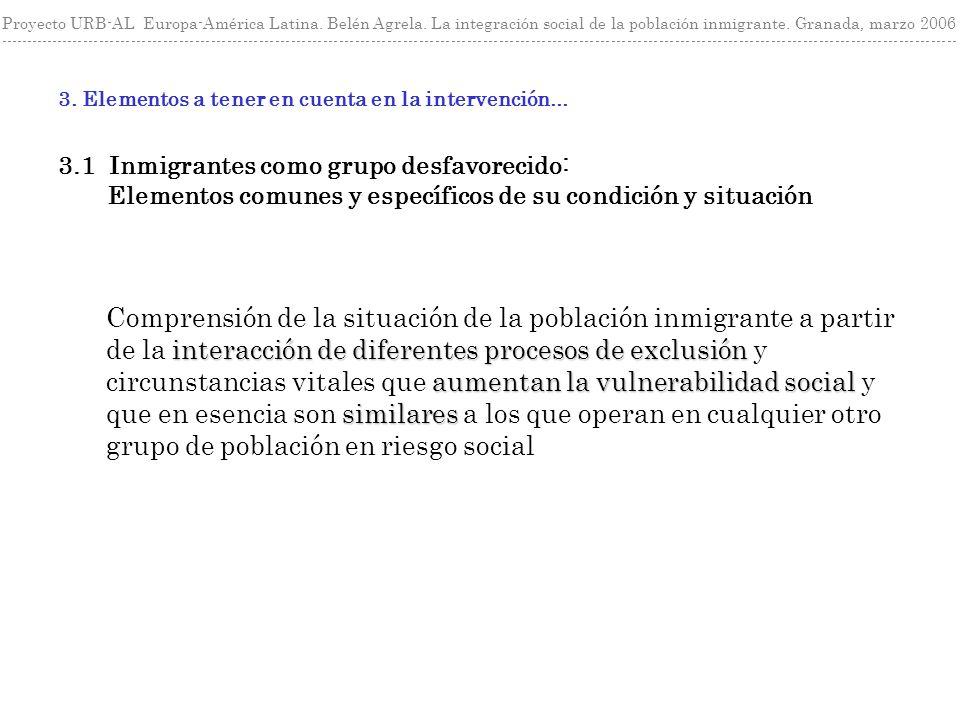 Proyecto URB-AL Europa-América Latina. Belén Agrela. La integración social de la población inmigrante. Granada, marzo 2006 ---------------------------