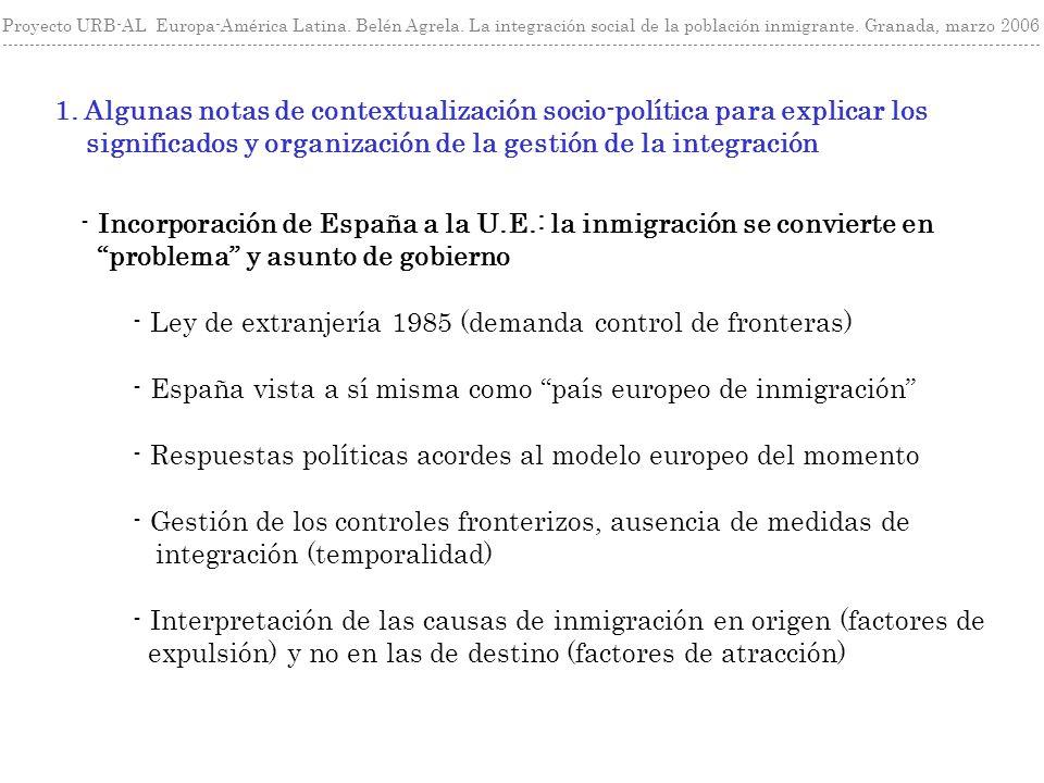 1. Algunas notas de contextualización socio-política para explicar los significados y organización de la gestión de la integración Proyecto URB-AL Eur