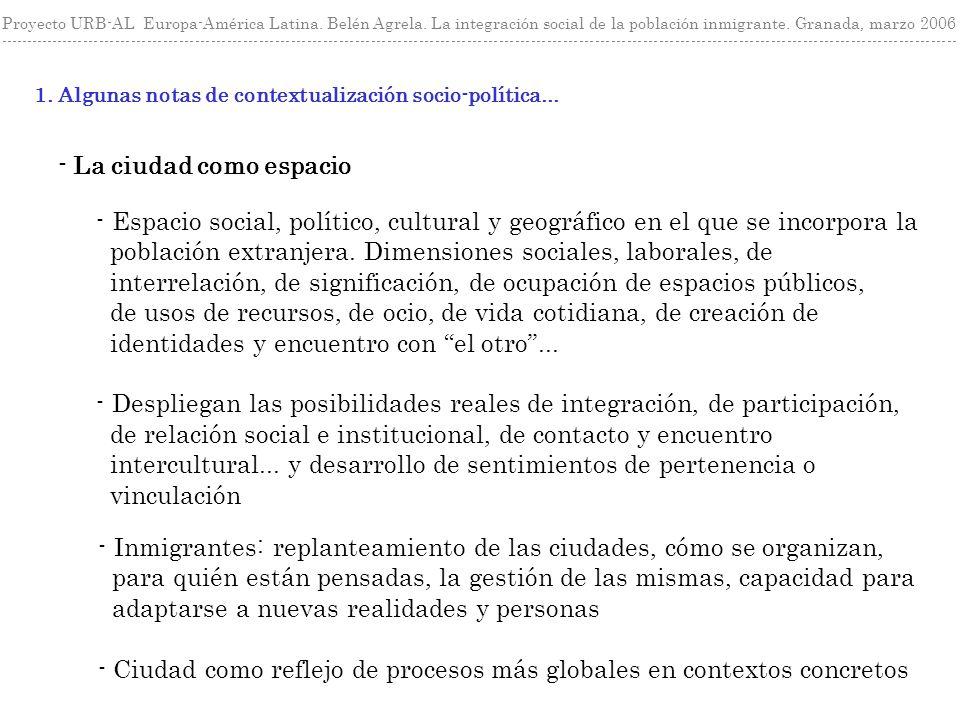 1. Algunas notas de contextualización socio-política... Proyecto URB-AL Europa-América Latina. Belén Agrela. La integración social de la población inm