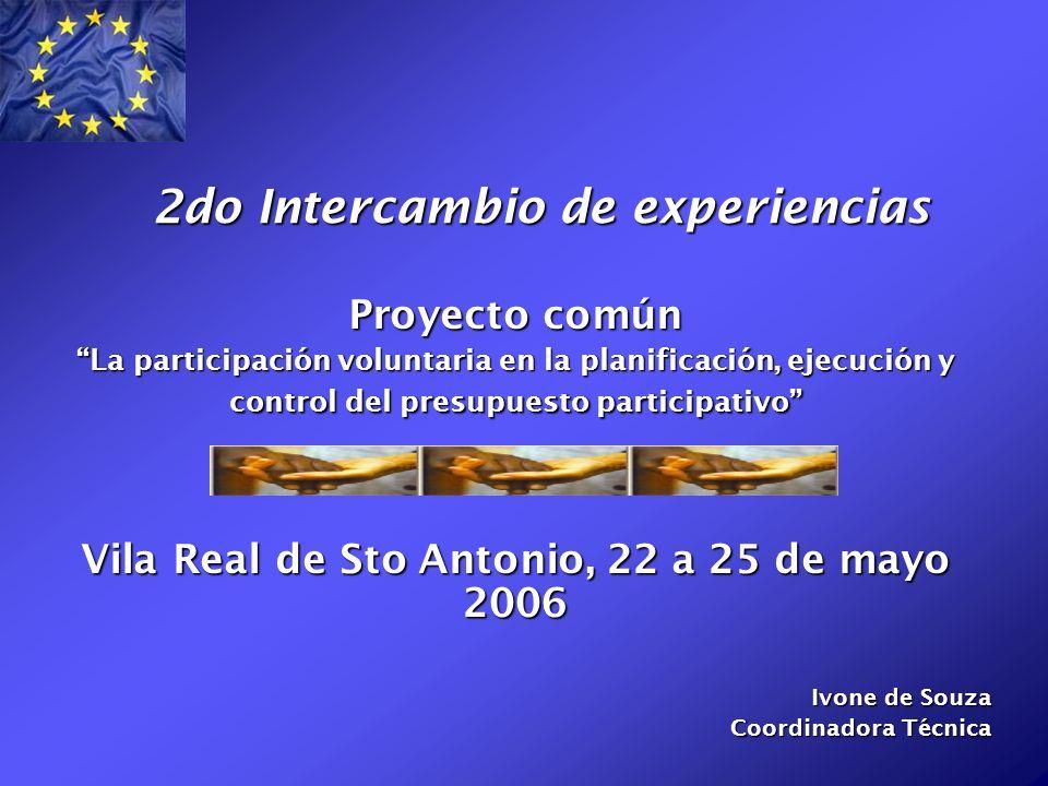 2do Intercambio de experiencias Proyecto común La participación voluntaria en la planificación, ejecución y control del presupuesto participativo Vila Real de Sto Antonio, 22 a 25 de mayo 2006 Ivone de Souza Coordinadora Técnica
