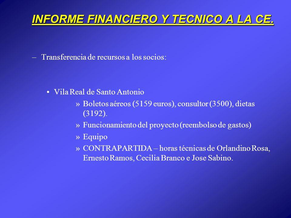 INFORME FINANCIERO Y TECNICO A LA CE. –Transferencia de recursos a los socios: Vila Real de Santo Antonio »Boletos aéreos (5159 euros), consultor (350