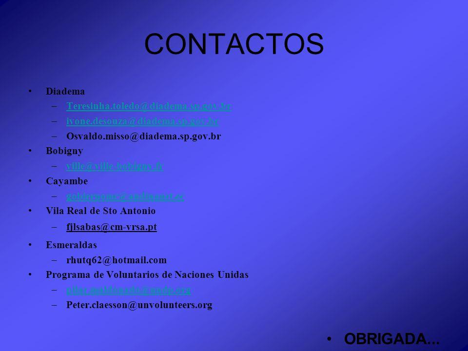 CONTACTOS Diadema –Teresinha.toledo@diadema.sp.gov.brTeresinha.toledo@diadema.sp.gov.br –ivone.desouza@diadema.sp.gov.brivone.desouza@diadema.sp.gov.b