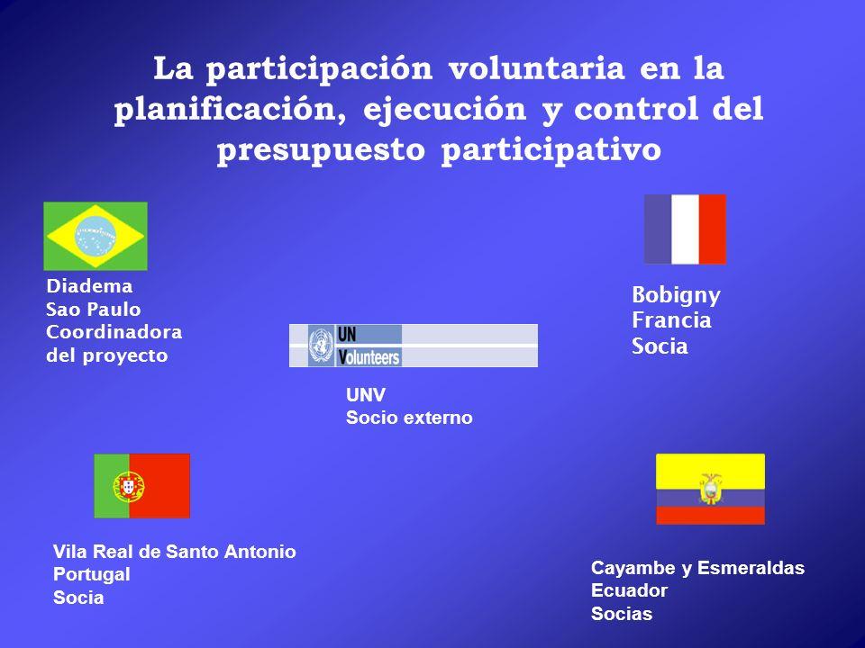 La participación voluntaria en la planificación, ejecución y control del presupuesto participativo Bobigny Francia Socia Vila Real de Santo Antonio Po