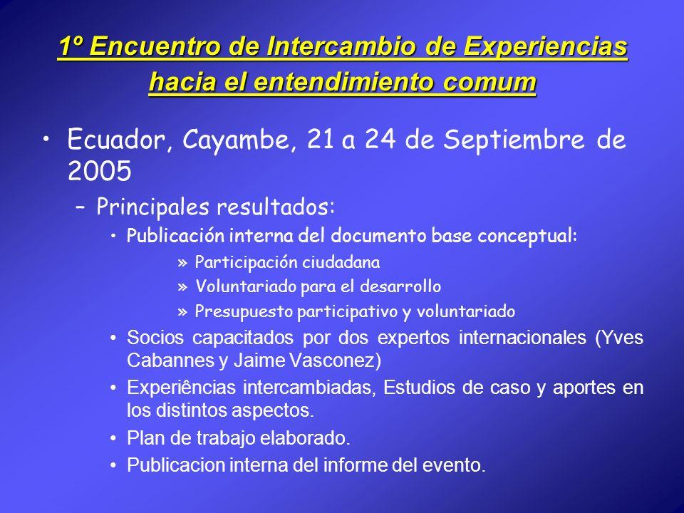 1º Encuentro de Intercambio de Experiencias hacia el entendimiento comum Ecuador, Cayambe, 21 a 24 de Septiembre de 2005 –Principales resultados: Publ