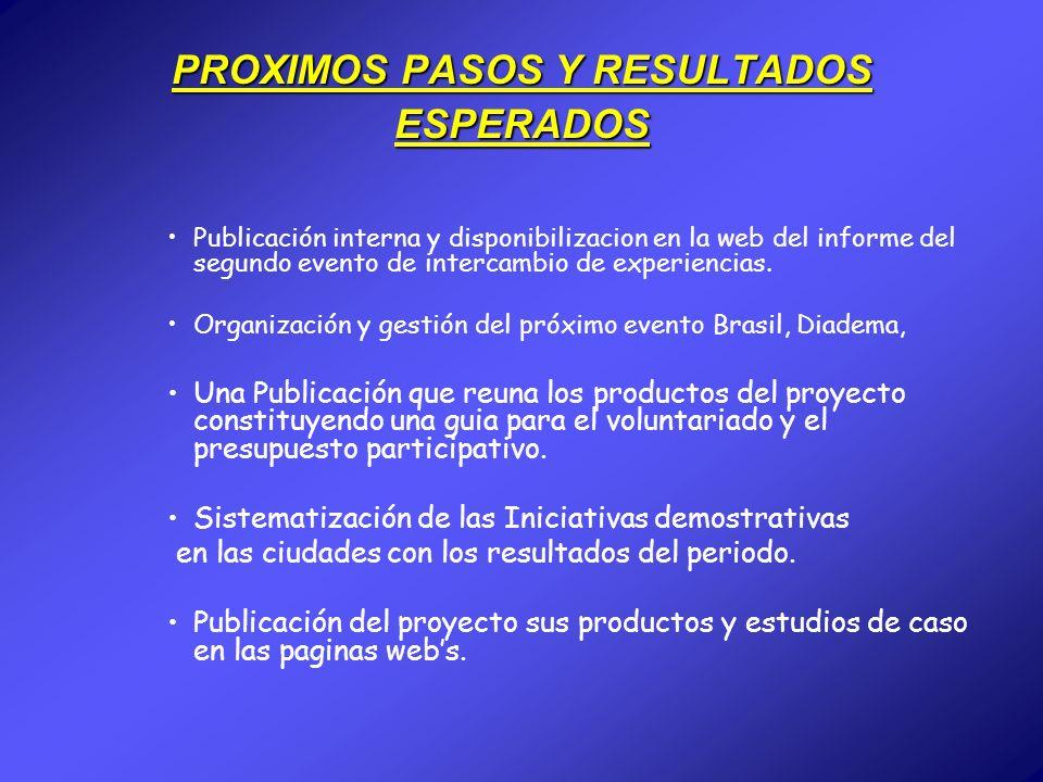 PROXIMOS PASOS Y RESULTADOS ESPERADOS Publicación interna y disponibilizacion en la web del informe del segundo evento de intercambio de experiencias.