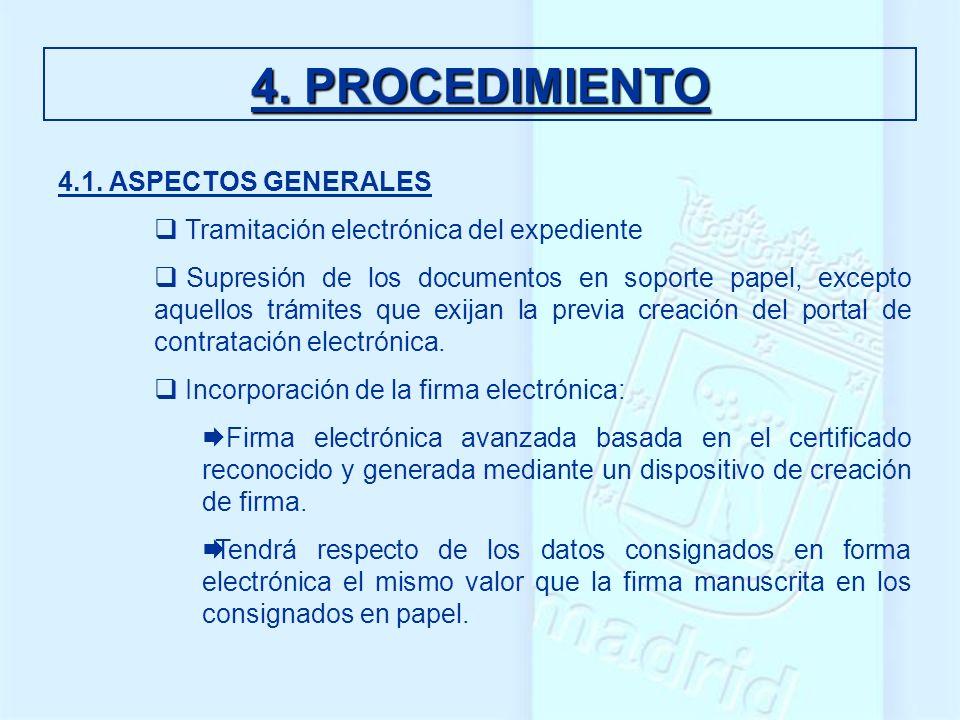 4.1. ASPECTOS GENERALES Tramitación electrónica del expediente Supresión de los documentos en soporte papel, excepto aquellos trámites que exijan la p