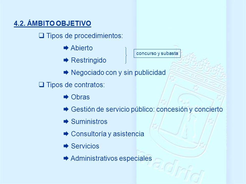 4.2. ÁMBITO OBJETIVO Tipos de procedimientos: Abierto Restringido Negociado con y sin publicidad Tipos de contratos: Obras Gestión de servicio público