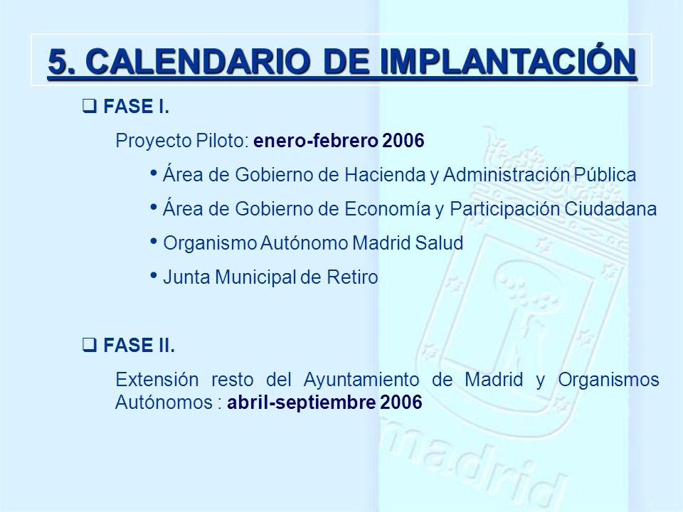 5. CALENDARIO DE IMPLANTACIÓN FASE I. Proyecto Piloto: enero-febrero 2006 Área de Gobierno de Hacienda y Administración Pública Área de Gobierno de Ec