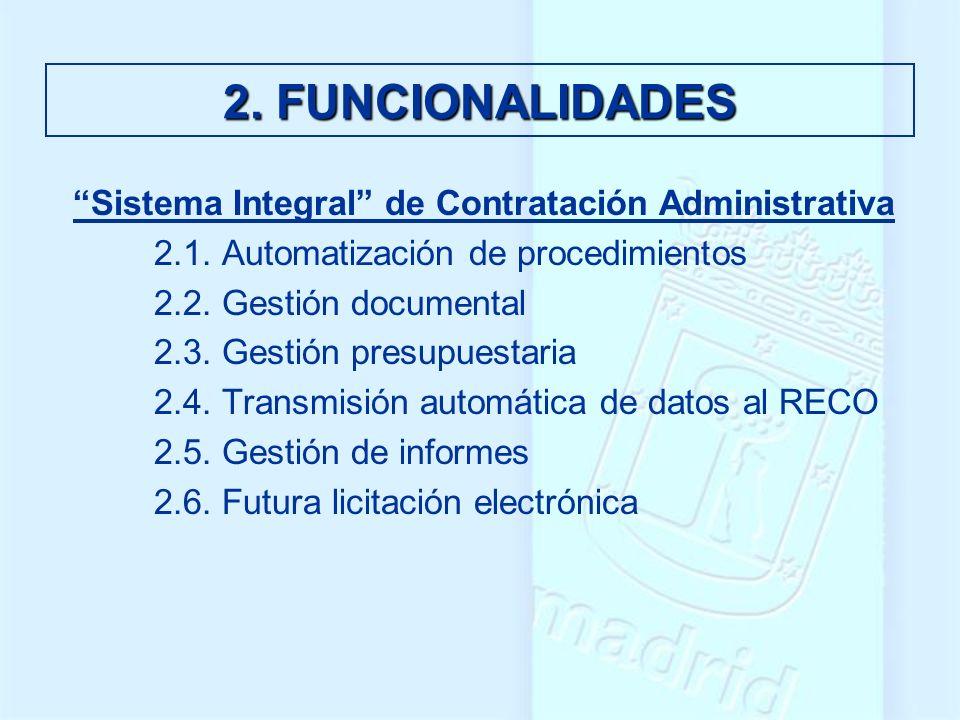 2. FUNCIONALIDADES Sistema Integral de Contratación Administrativa 2.1. Automatización de procedimientos 2.2. Gestión documental 2.3. Gestión presupue