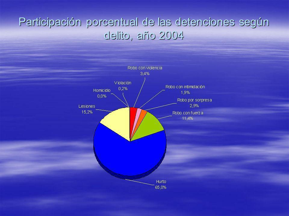 Participación porcentual de las detenciones según delito, año 2004