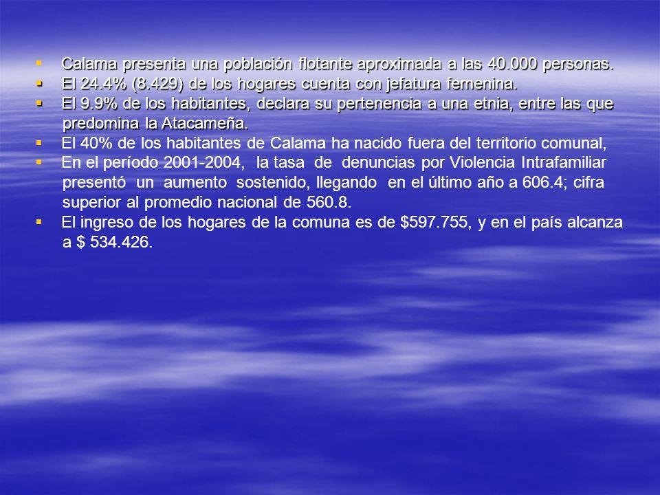 Calama presenta una población flotante aproximada a las 40.000 personas. El 24.4% (8.429) de los hogares cuenta con jefatura femenina. El 24.4% (8.429
