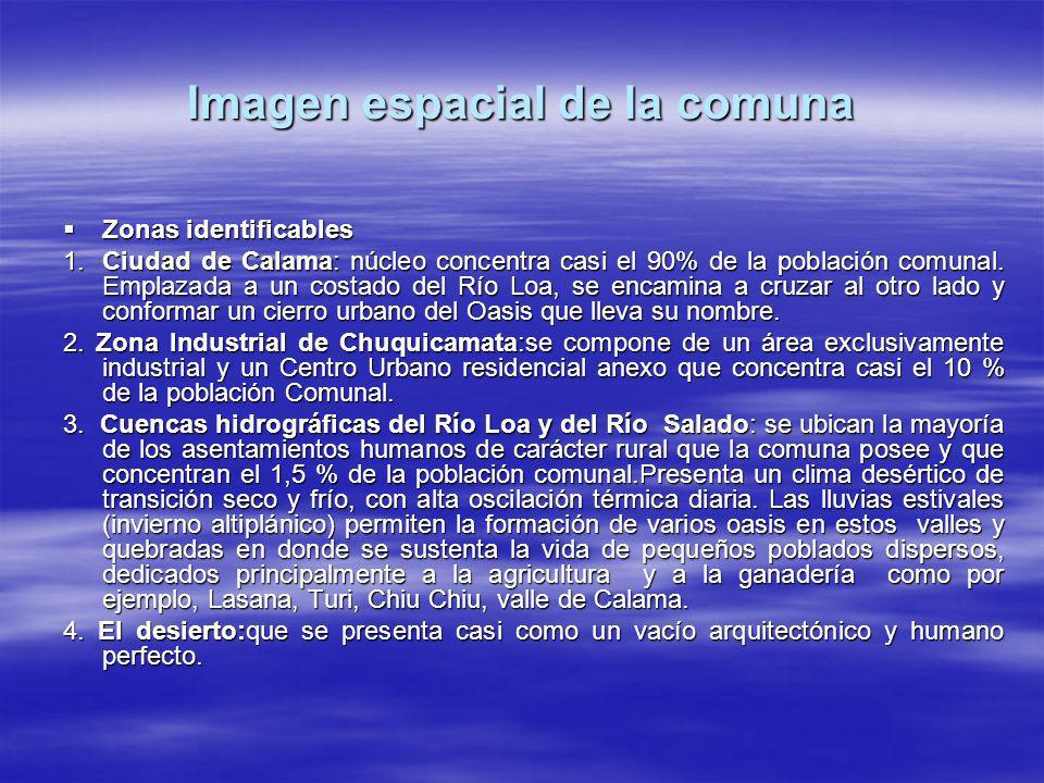Imagen espacial de la comuna Zonas identificables Zonas identificables 1.Ciudad de Calama: núcleo concentra casi el 90% de la población comunal. Empla