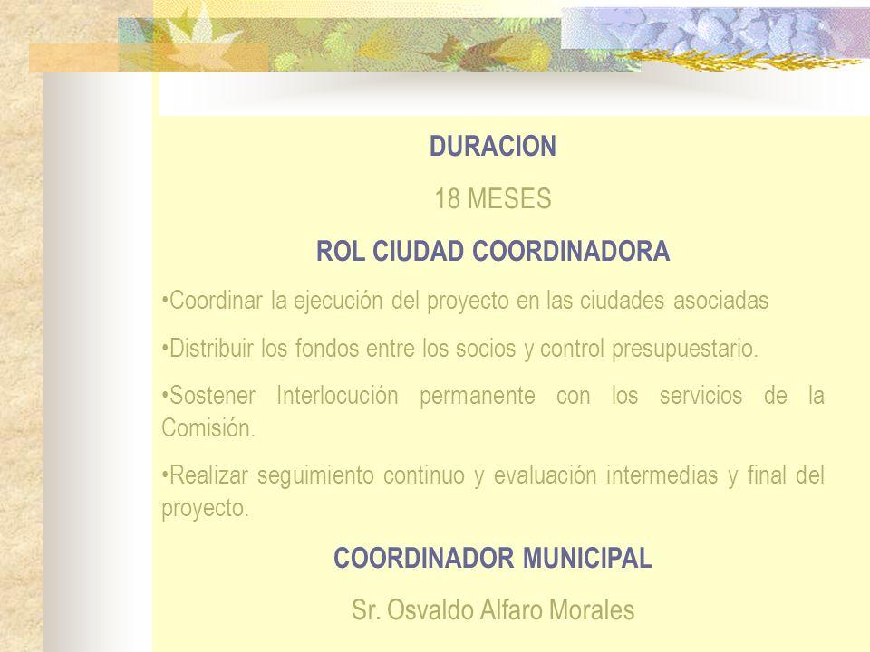 DURACION 18 MESES ROL CIUDAD COORDINADORA Coordinar la ejecución del proyecto en las ciudades asociadas Distribuir los fondos entre los socios y contr