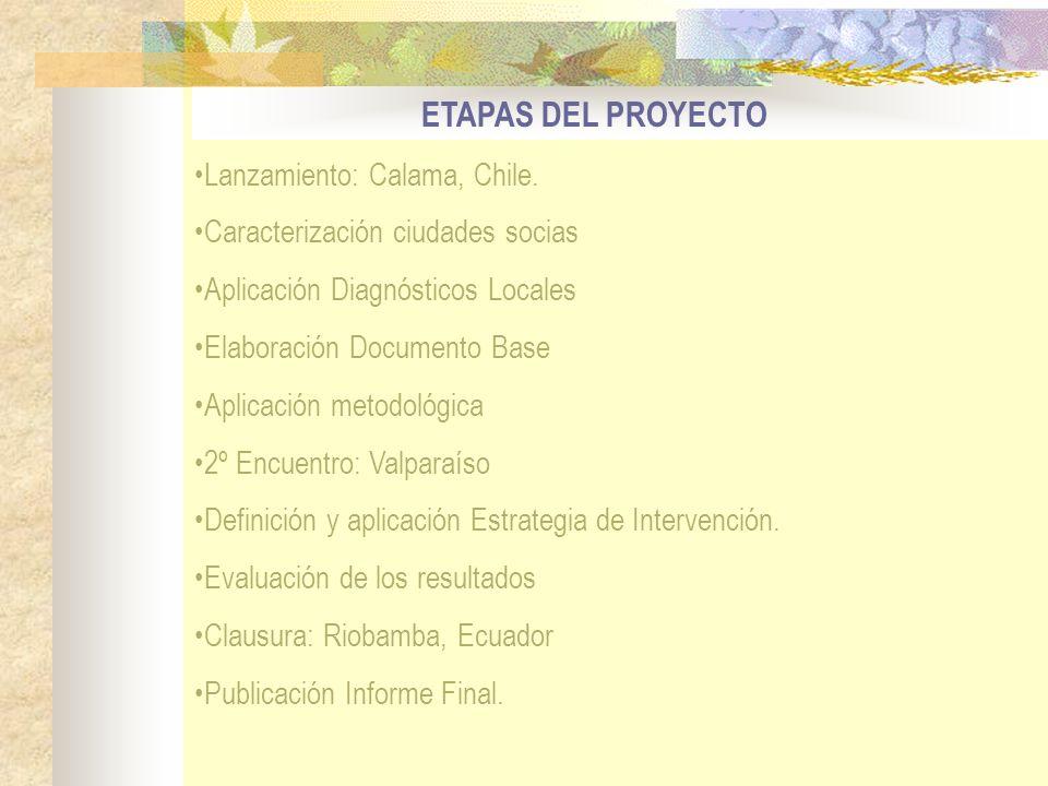 ETAPAS DEL PROYECTO Lanzamiento: Calama, Chile. Caracterización ciudades socias Aplicación Diagnósticos Locales Elaboración Documento Base Aplicación