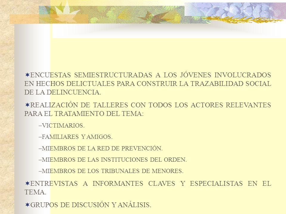 ENCUESTAS SEMIESTRUCTURADAS A LOS JÓVENES INVOLUCRADOS EN HECHOS DELICTUALES PARA CONSTRUIR LA TRAZABILIDAD SOCIAL DE LA DELINCUENCIA. REALIZACIÓN DE