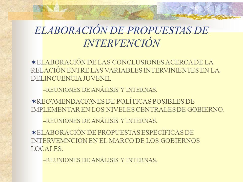 ELABORACIÓN DE LAS CONCLUSIONES ACERCA DE LA RELACIÓN ENTRE LAS VARIABLES INTERVINIENTES EN LA DELINCUENCIA JUVENIL. –REUNIONES DE ANÁLISIS Y INTERNAS