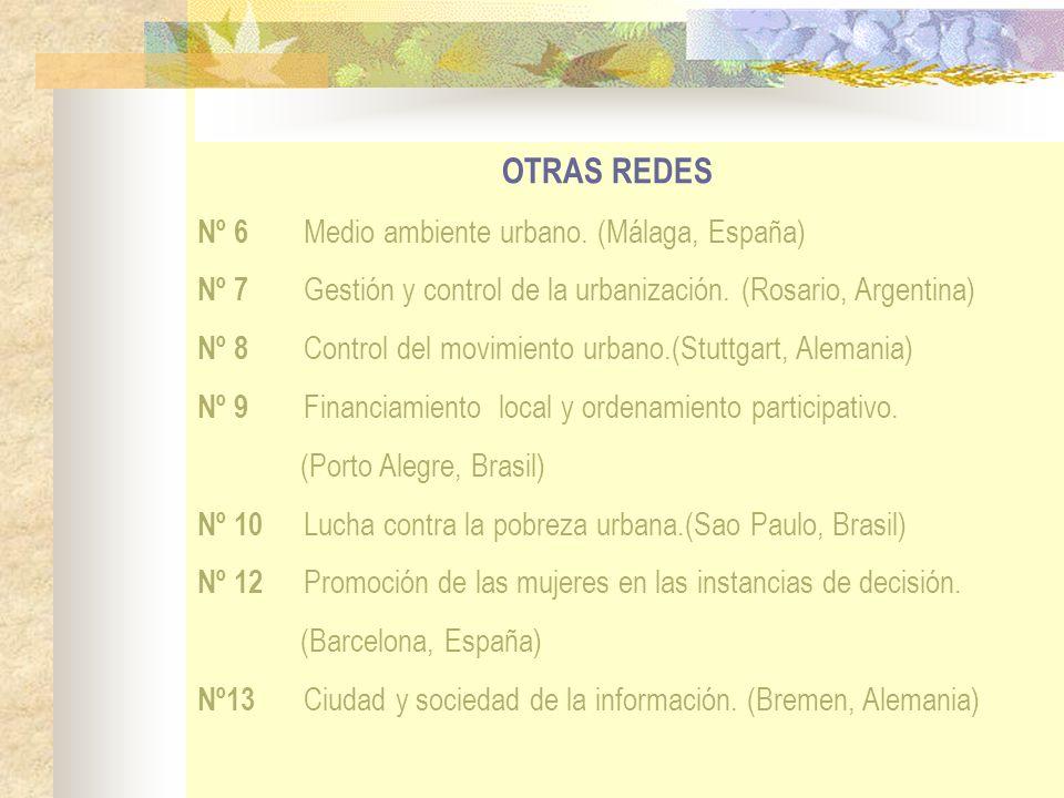 OTRAS REDES Nº 6 Medio ambiente urbano. (Málaga, España) Nº 7 Gestión y control de la urbanización. (Rosario, Argentina) Nº 8 Control del movimiento u
