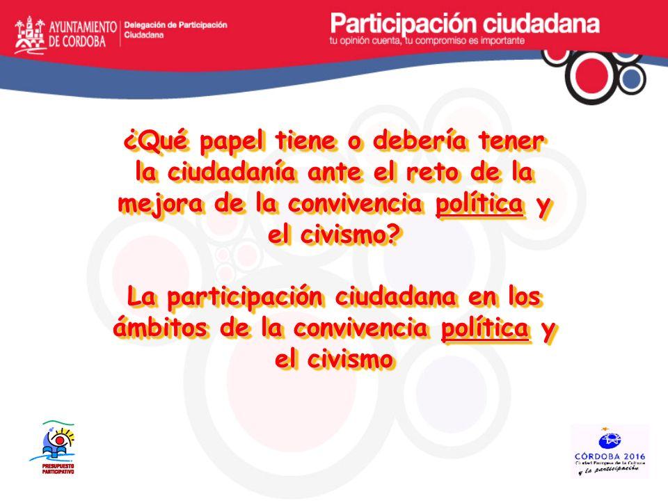 El objetivo de la participación ciudadana, al margen de quien la promueva, es el de que la ciudadanía se implique en la definición de las políticas públicas, para cualificarlas desde las vivencias, el conocimiento y la pluralidad ideológica y, por otra parte, se apropie y corresponsabilice de la autoconstrucción de la comunidad.