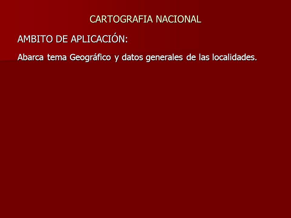 AMBITO DE APLICACIÓN: Abarca tema Geográfico y datos generales de las localidades.