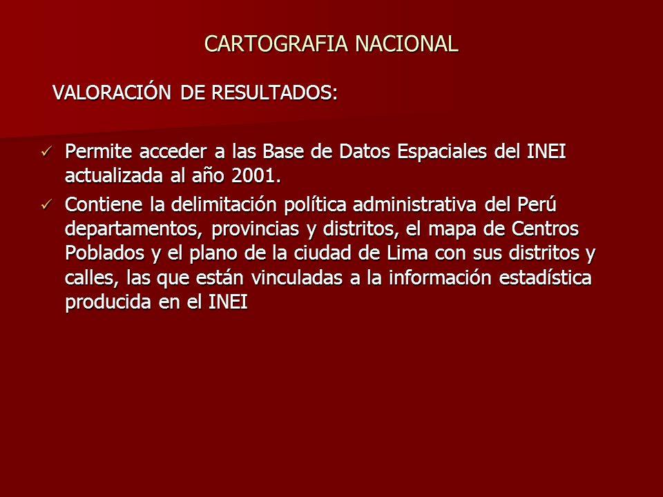 VALORACIÓN DE RESULTADOS: VALORACIÓN DE RESULTADOS: Permite acceder a las Base de Datos Espaciales del INEI actualizada al año 2001.