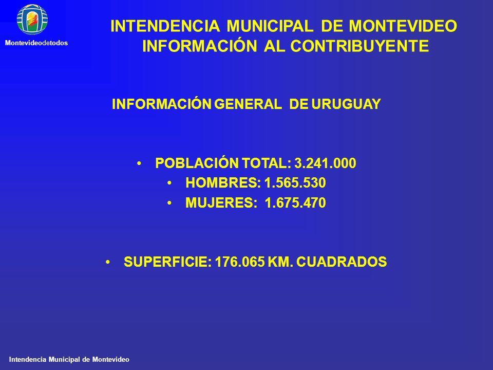 Intendencia Municipal de Montevideo Montevideodetodos INFORMACIÓN GENERAL DE URUGUAY POBLACIÓN TOTAL: 3.241.000 HOMBRES: 1.565.530 MUJERES: 1.675.470