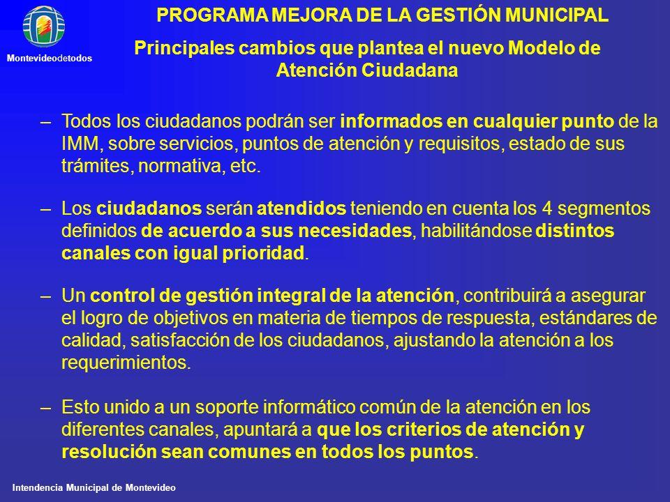 Intendencia Municipal de Montevideo Montevideodetodos PROGRAMA MEJORA DE LA GESTIÓN MUNICIPAL Principales cambios que plantea el nuevo Modelo de Atenc