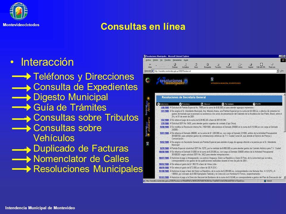 Intendencia Municipal de Montevideo Montevideodetodos Consultas en línea Interacción –Teléfonos y Direcciones –Consulta de Expedientes –Digesto Munici