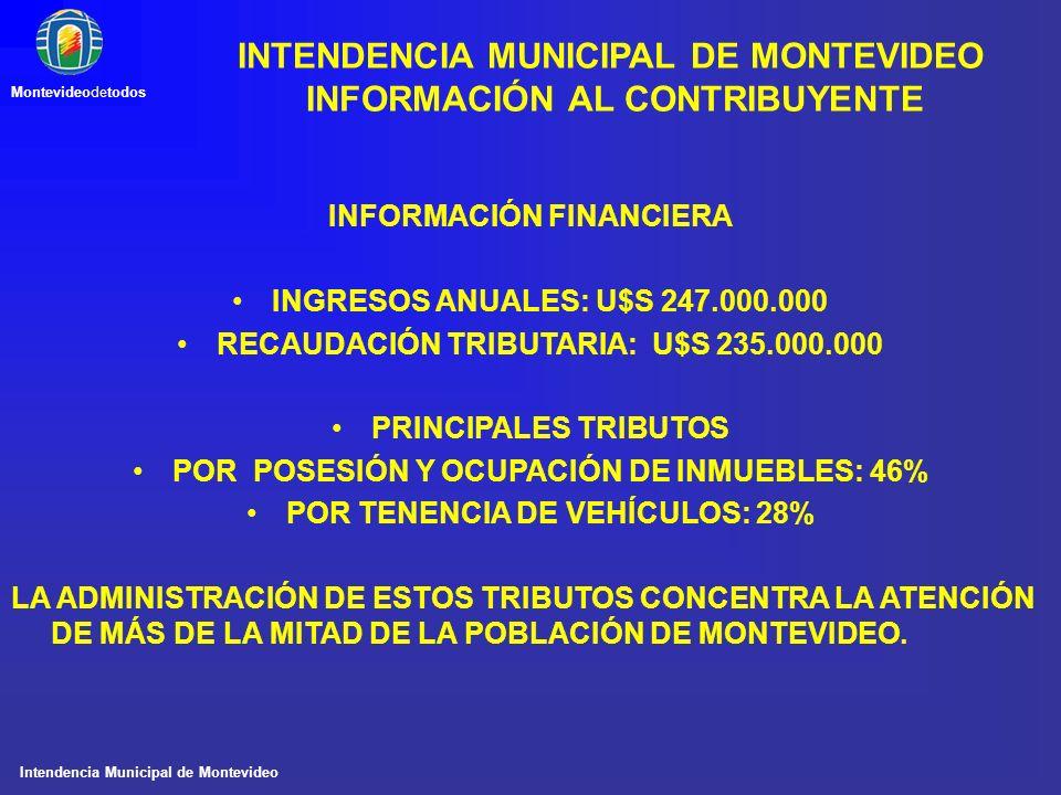 Intendencia Municipal de Montevideo Montevideodetodos INFORMACIÓN FINANCIERA INGRESOS ANUALES: U$S 247.000.000 RECAUDACIÓN TRIBUTARIA: U$S 235.000.000