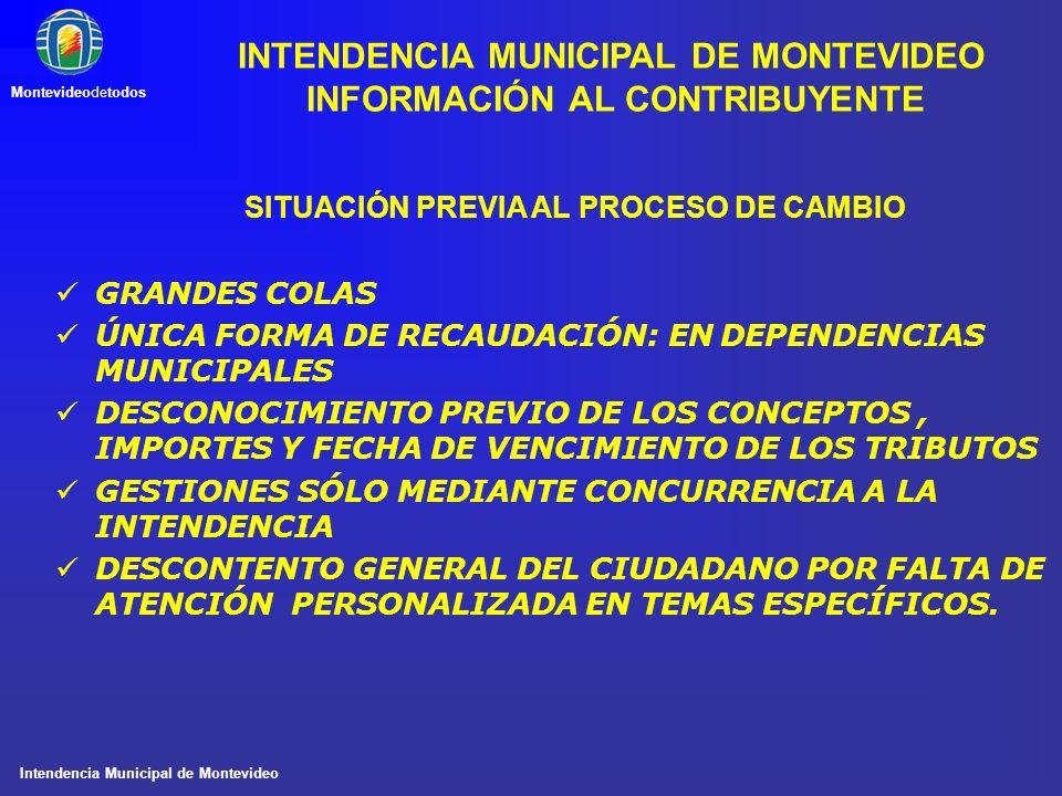 Intendencia Municipal de Montevideo Montevideodetodos SITUACIÓN PREVIA AL PROCESO DE CAMBIO GRANDES COLAS ÚNICA FORMA DE RECAUDACIÓN: EN DEPENDENCIAS