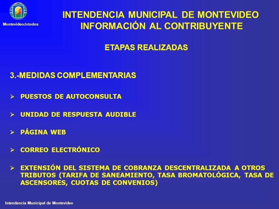Intendencia Municipal de Montevideo Montevideodetodos ETAPAS REALIZADAS 3.-MEDIDAS COMPLEMENTARIAS PUESTOS DE AUTOCONSULTA UNIDAD DE RESPUESTA AUDIBLE