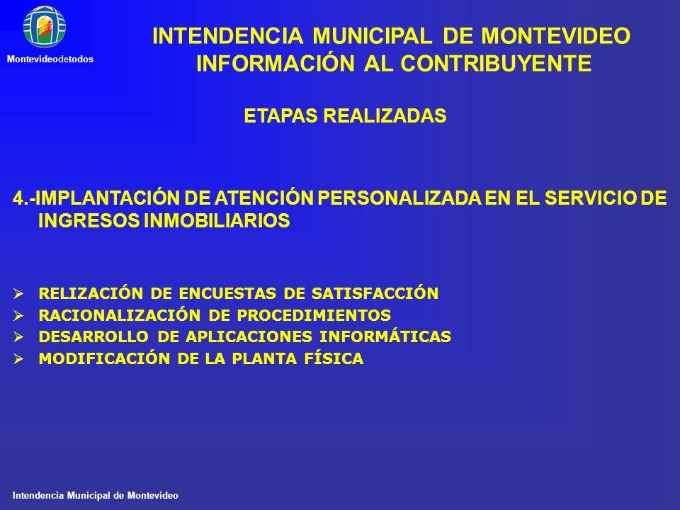 Intendencia Municipal de Montevideo Montevideodetodos ETAPAS REALIZADAS 4.-IMPLANTACIÓN DE ATENCIÓN PERSONALIZADA EN EL SERVICIO DE INGRESOS INMOBILIA