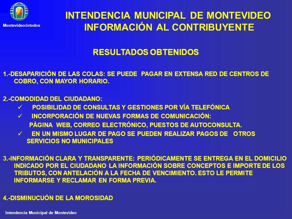 Intendencia Municipal de Montevideo Montevideodetodos RESULTADOS OBTENIDOS 1.-DESAPARICIÓN DE LAS COLAS: SE PUEDE PAGAR EN EXTENSA RED DE CENTROS DE C